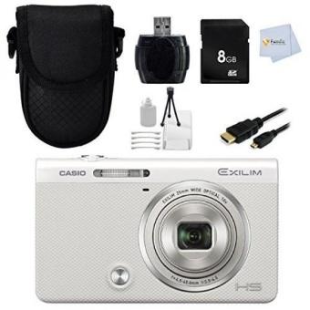 Casio EXILIM EX-ZR50 (White) EX-ZR50WE High Speed Digital Camera - International Version (No Warranty) + 8GB Memory Card + Reader + HDMI Cable + Starter Kit + Case - intl