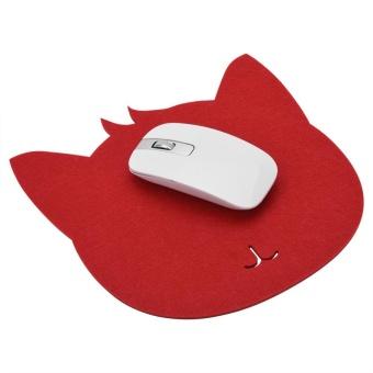 Cat bentuk anti-Static Felts tabel Mouse Pad kantor Tahan Debu meja Pads (merah)