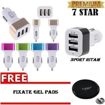 Charger Hp di Mobil - Fast Charger 5.1A 3 Port USB + Gratis Kabel Tulang Micro USB 120cm 1 Pcs