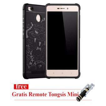 Cocose Original Case Dragon Anti Crak Xiaomi Redmi 3s / Pro - Hitam- Gratis Tongsis Mini Remote