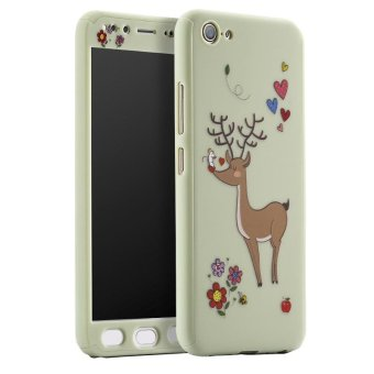 Cute Animals Giraffe 360 Degree Full Body Case 3 In 1 FrostedProtective Cover for BBK VIVO V5 Plus X9 with Tempered Glass - intl