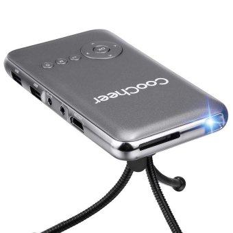 Cyber COOCHEER rumah kolam Mini portabel isi ulang Wifi Smart DLP proyektor EU (abu-abu) - International - 5