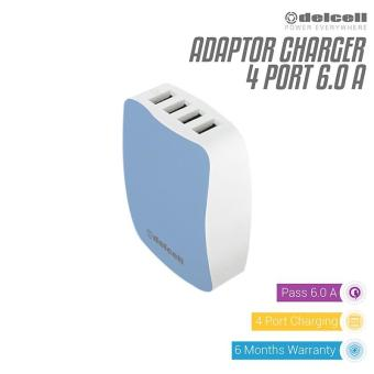 Delcell Adaptor 4 Port USB Charger Real 6 Amper - Dark Blue