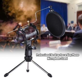 Detachable Desktop Microphone Tripod Stand Holder Bracket Supporter with Shock Mount Mic Holder & Double Dual-layer Pop Filter & Stick Professional for Broadcast Podcast Meeting Online Conference Chatting Lecture - intl - 3