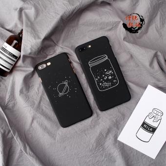 Ditambah iphone7 sederhana hitam apel matte cangkang keras ponsel shell