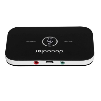 Docooler B6 2 in 1 Bluetooth Transmitter & Receiver Wireless A2DP Bluetooth Audio Adapter Portable Audio Player Aux 3.5mm Black - intl