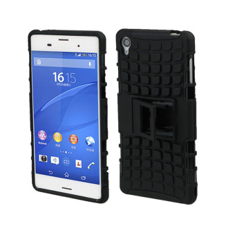 Dual Layer 2 in 1 Rugged Hybrid Hard Case for Sony Xperia Z3(Black)