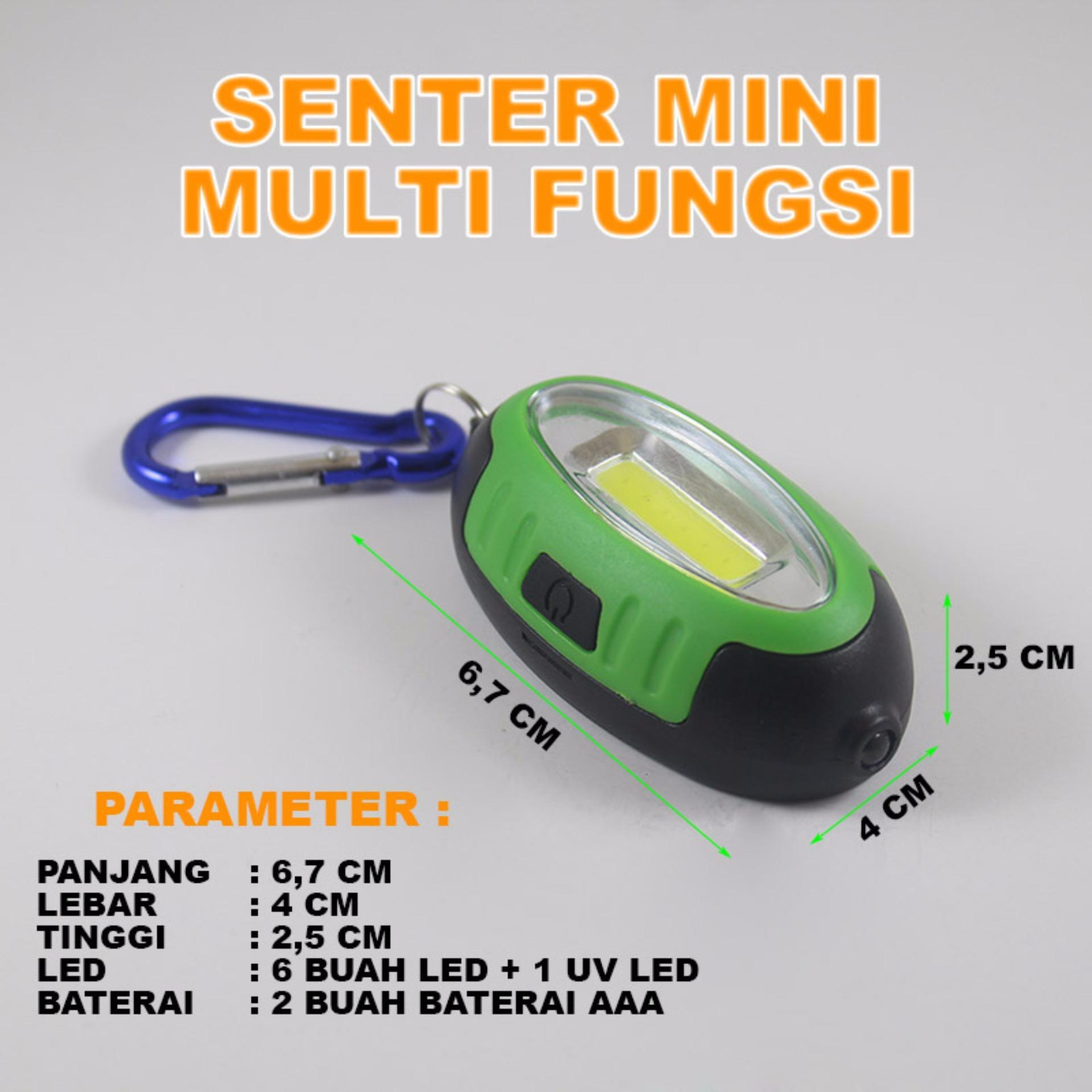 EELIC LAS-5822 HIJAU Lampu Senter Mini Multifungsi COB + MoneyDetector Gantungan .