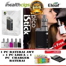Eleaf iStick Pico Starter Kit 75W Rokok Elektrik Vape Vapor FREE 1 Pc Baterai AWT 3.000 Mah + 1 Pc Liqua E-liquids Refill + 1 Pc Charger Baterai Quick Charging - Black