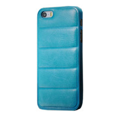 Emco For Apple Iphone 5/5S Leather Imported Cool Hard Bumper Design Compact Case - Blue Sky