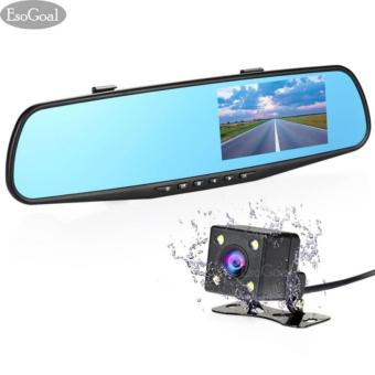 Harga EsoGoal Dual Lens Dash Cam Rear View Mirror Car Camera 4.3 Inch TFT LCD Screen 1080P Driving Video Recorder with Back Up Camera, G-Sensor, Loop Recording, Parking Mode, Motion Detection, Night Vision (TF card excluded) - intl