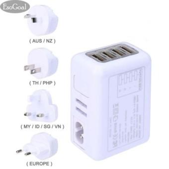 EsoGoal International USB Travel Adapter Universal 4-ports Plug power Charger (Putih)