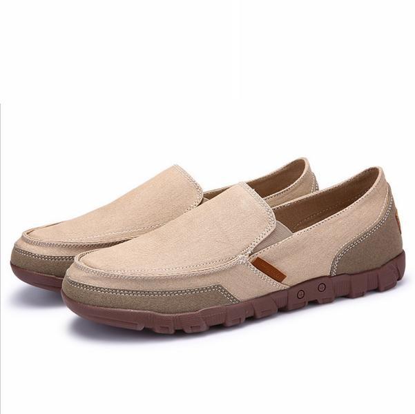 Modis Ukuran Besar Pria Kanvas Lembut Lazy Sepatu Kasual Tergelincir Loafer-Internasional