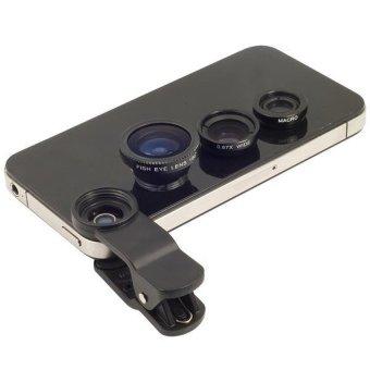 Fish Eye Lensa 3in1 Untuk Xiaomi Redmi 2 / S / Pro / Prime - Hitam