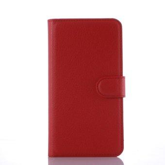 Flip Dompet Kulit Case Cover untuk LENOVO K4 Catatan (Merah)-Intl