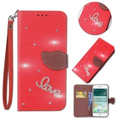 Flip Style Fashion Leaf Pattern Button bling Cover (PU leather and TPU) Stand Function Protection wallet phone case for Microsoft Lumia 640 XL - intl