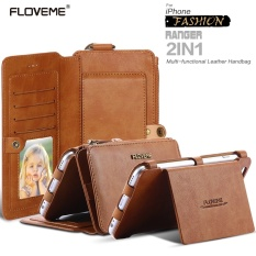 FLOVEME Untuk IPhone 7 Plus/6 S Plus/6 Plus Retro Bisnis Kulit   Dompet Phone Case Dengan finger Ring