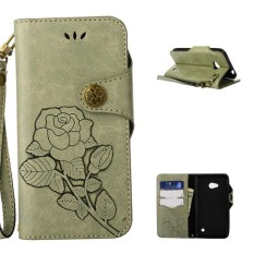Folio PU leather Card holder Cover with magnetic closure shell pattern phone case For Microsoft Lumia 640 LTE - intl