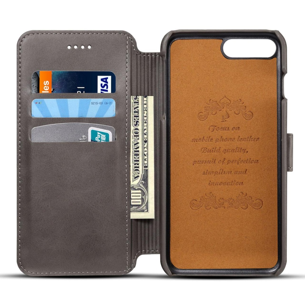 For Apple Iphone 6/6s Plus Premium Genuine Leather Card Slotpattern Wallet .