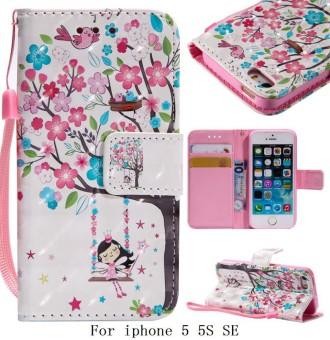 untuk IPhone 5 5 S SE Gadis Pohon Burung Dompet Kulit Berkualitas Tinggi Flip Kartu Slot