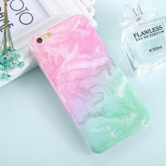 untuk IPhone 6 dan 6 S Pink Marmer Hijau Pola TPU Pelindung Kembali Tudung Case-