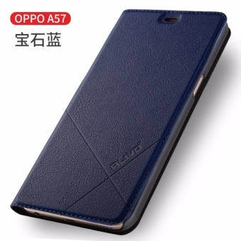 For OPPO A57 Flip Type Leather Cover Case Luxury Pu Leather Case (Blue) - intl