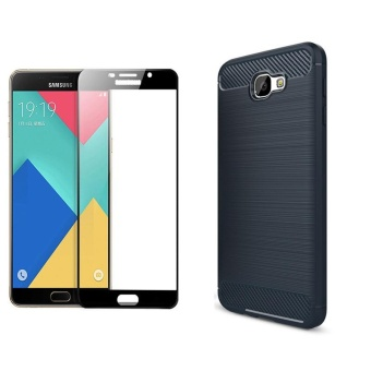 For Samsung Galaxy J7 Prime Ultra Slim Carbon Fiber Case with HDFull Coverage Tempered Glass(