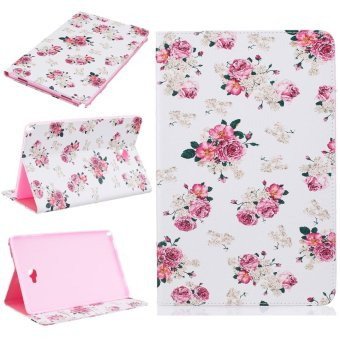 For Samsung Galaxy Tab A 10.1 With S Pen P580 Leather PU Case FlipFolio Wallet Stand Cover - Peony - intl