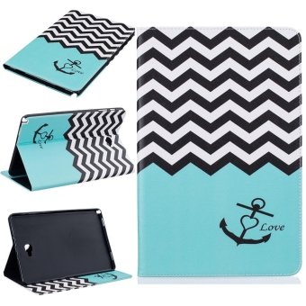For Samsung Galaxy Tab A 10.1 With S Pen P580 Leather PU Case FlipFolio Wallet Stand Cover - Wave Anchor - intl