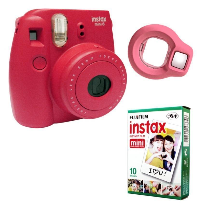 Fujifilm Instax Mini 8 kamera instan (Frambos) + Fuji putih instantepi .