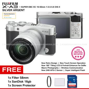 FUJIFILM X-A3 (Silver Argent) + XC16-50mm F3.5-5.6 OIS II + SanDisk 16GB + Screen Guard + Filter 58mm