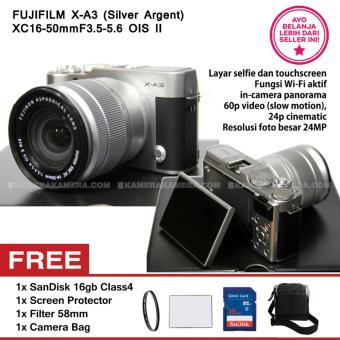 FUJIFILM X-A3 SILVER ARGENT + XC16-50mm F3.5-5.6 OIS II + SanDisk 16GB + Screen Guard + Filter 58mm + Camera Bag