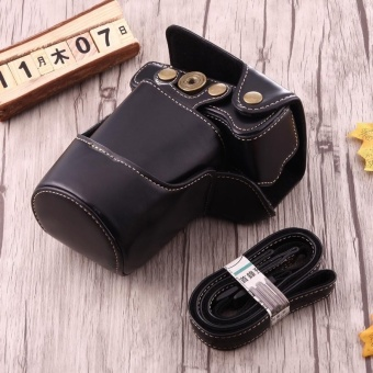Full Body Camera PU Leather Case Bag With Strap For Canon EOS M3(Black) - intl