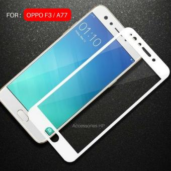 Full Cover Tempered Glass Warna Screen Protector for OPPO F3 (A77) - White