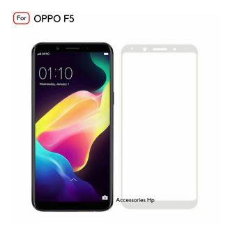 Full Cover Tempered Glass Warna Screen Protector for OPPO F5 - White