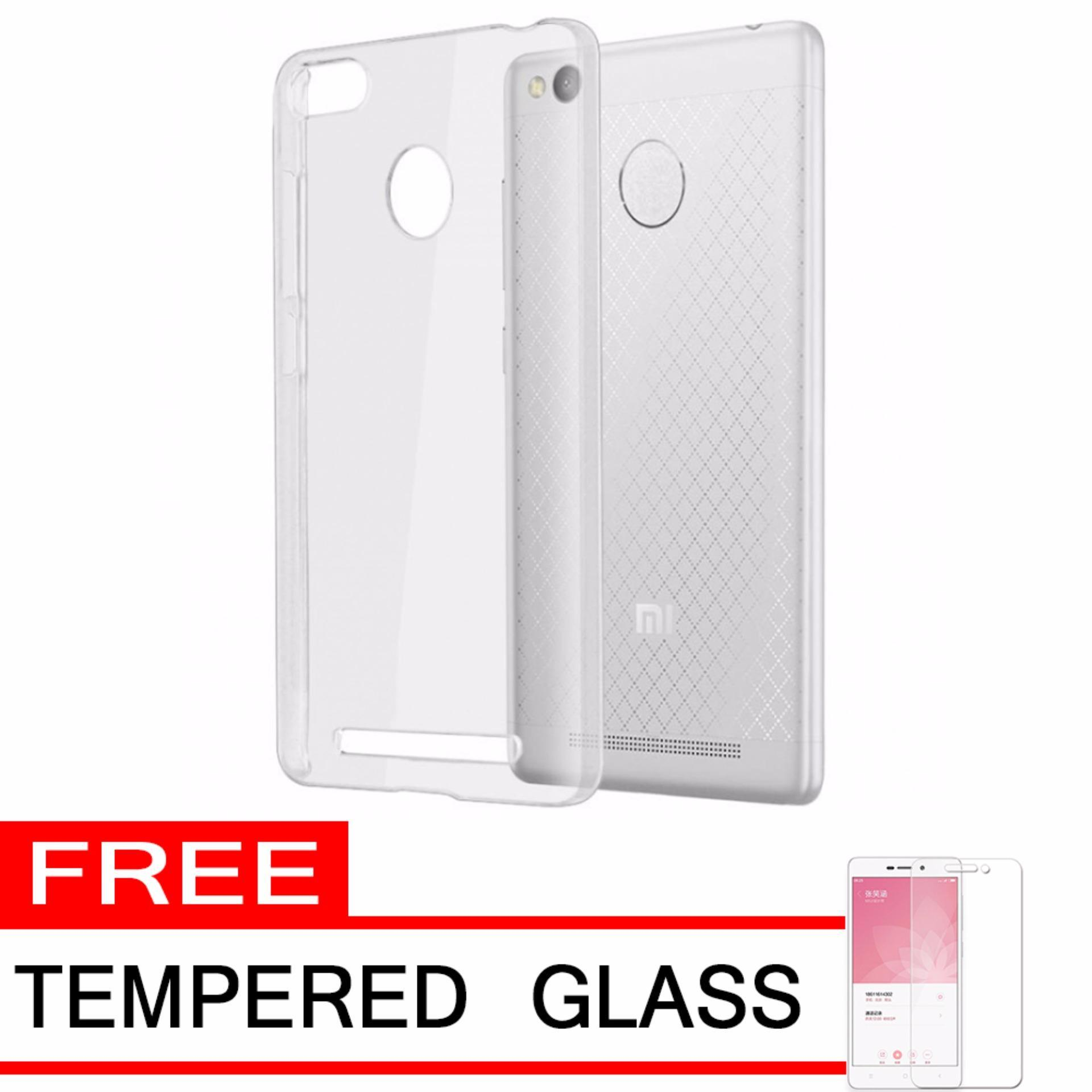 Flash Sale Gerai Softcase Silicon Ultrathin for Xiaomi Redmi 3s Pro/Prime -White Clear