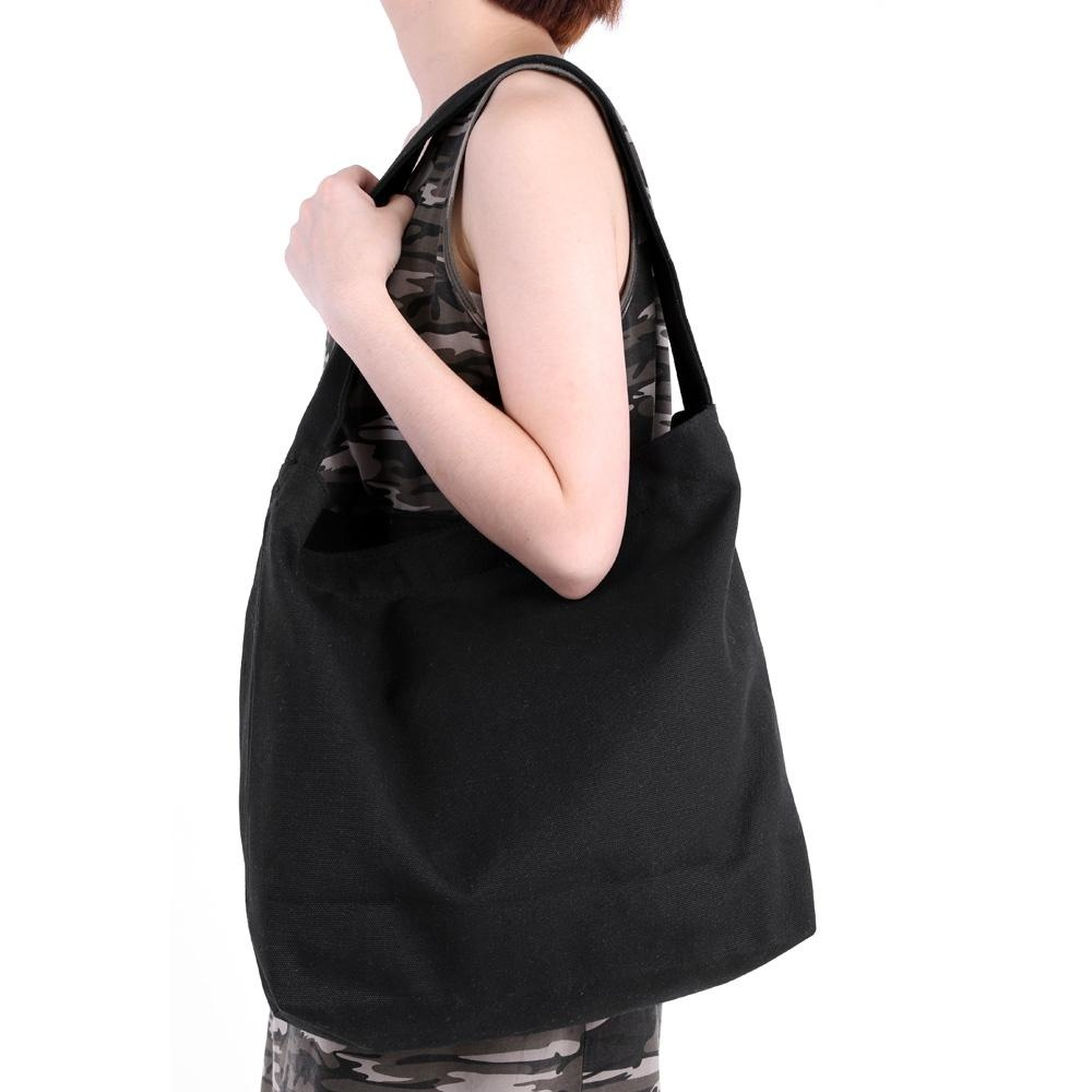 Jual Classic Britian Tote Single Shoulder Large Capacity Leather Female Canvas Bag Travel Girl Practical Solid Color Magnetic Button Shopping School Black