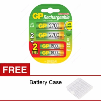 GP Batteries Rechargeble Combo AA 2700mAH (BP2) + AAA 800mAH (BP2)- Free Battery Case