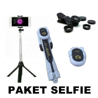 harga Gshop Stick Selfie Monopod And Tripod + Bluetooth Camera Shutter & Lens Clip 3in1 Lazada.co.id