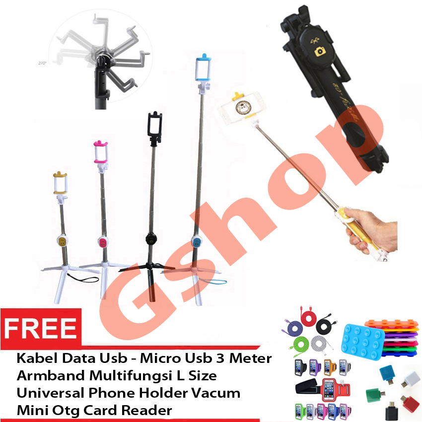 ... Gshop Tongsis 3 in 1 Selfie Stick Built In Bluetooth Tripod +Armband L Size + ...