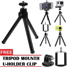 GStation Tripod Mini for Mobile & Action Camera + Holder U + Tripod Mounth- Hitam