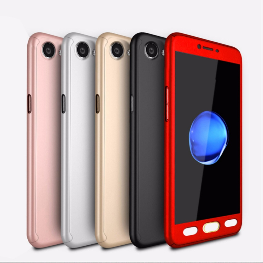 GZ 360 Degree Full Body Protection Hard Cover Case Matte With Tempered Glass for Oppo A77 ...