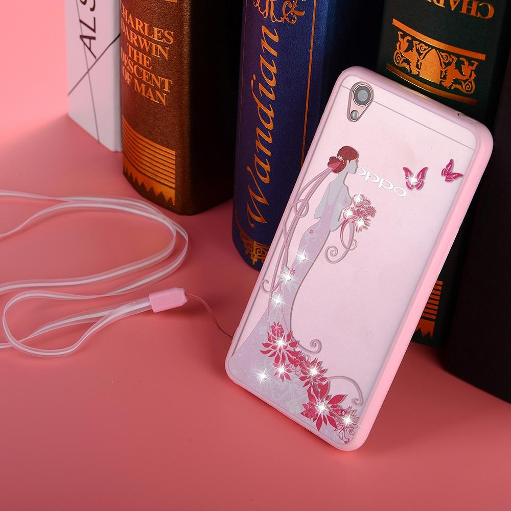 Hicase Cute Pink Soft TPU Case With Glitter Bling For Oppo A37 Black .