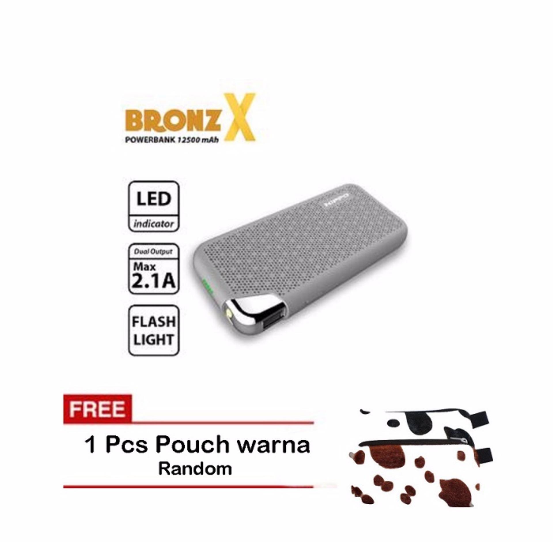 Hippo Power Bank Bronzx 12500mah Abu Abu Pouch Daftar Update Harga Terbaru Indonesia