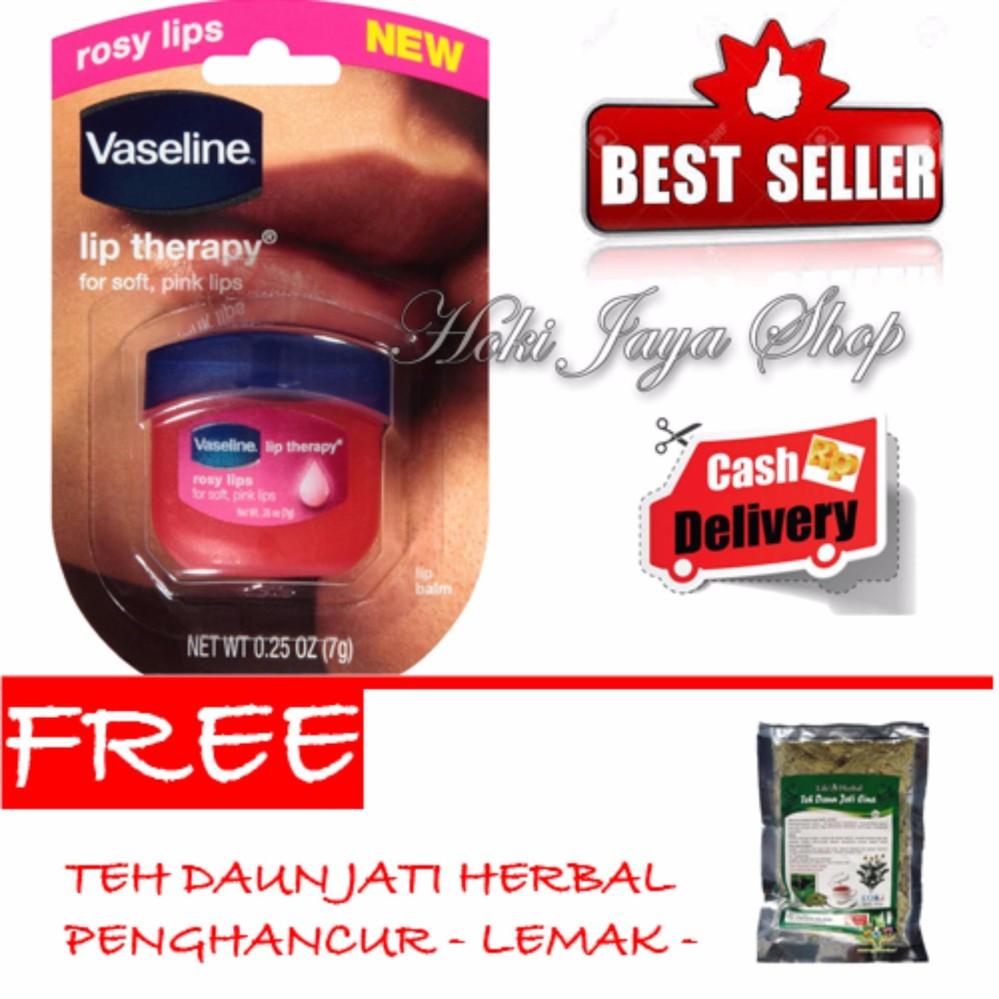 HOKI COD - Vaseline Lip Therapy Rosy Lips Premium Therapy - 1 Pcs + Gratis Teh