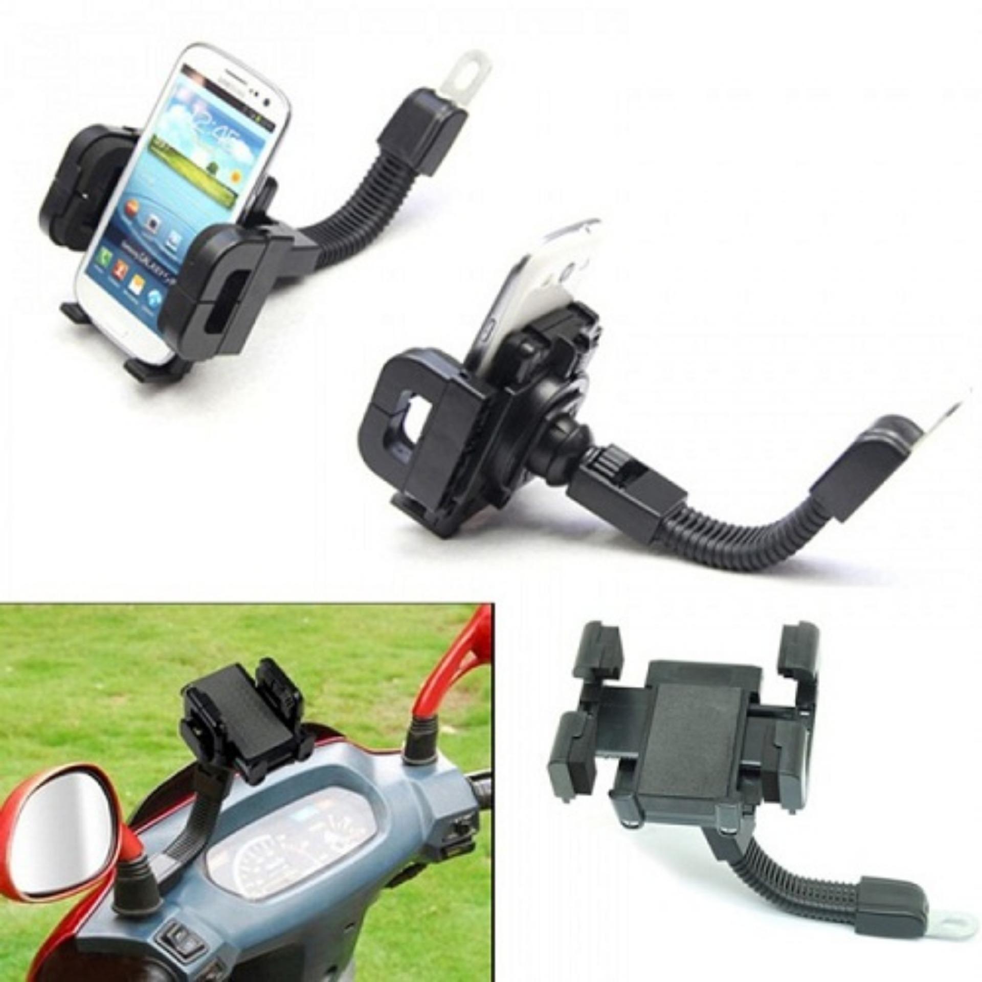 ... Holder Spion Stand Bracket Handphone dan GPS Untuk Semua Sepeda Motor Black