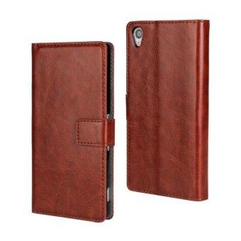 Holster Flip Stand Wallet Crazy Horse PU Leather Case Cover ForSony Xperia Z3 (Brown) - intl