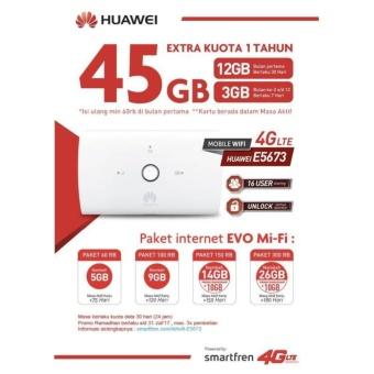 Huawei E5673 Mifi Modem Wifi Router 4G UNLOCK Free Smartfren 45Gb 1Thn