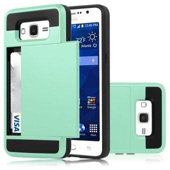 Hybrid Dual Layer Shockproof Bumper Wallet Case Cover With CardHolder For Samsung Galaxy J2 Prime