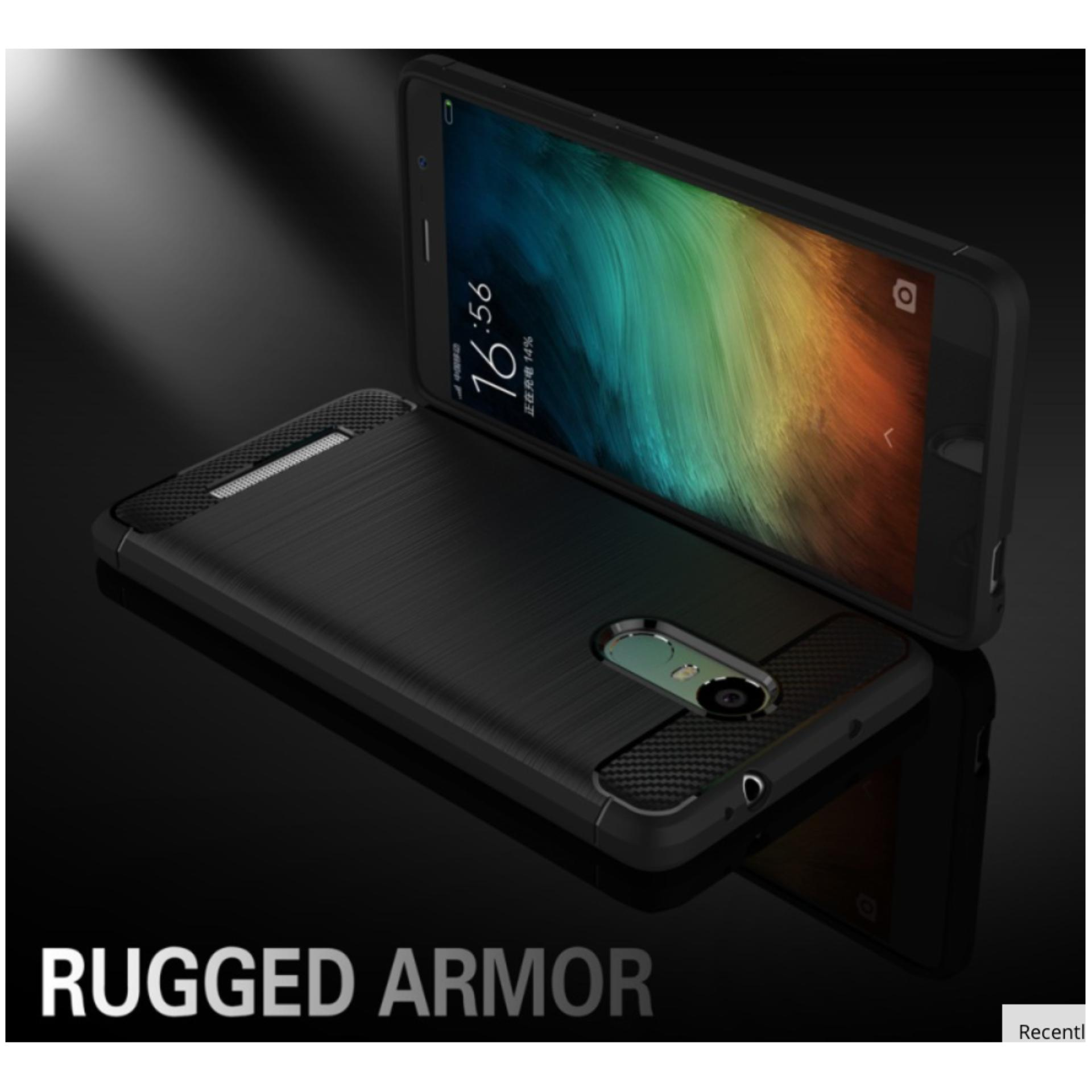 iCase iPaky Carbon Shockproof Hybrid Case for Xiaomi Redmi Note 3 - Hitam .